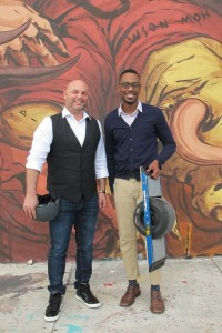 Celia Ampel Urban.us co-founders Shaun Abramson and Stonly Baptiste with a OneWheel electric skateboard outside their office in Miami's Wynwood neighborhood. (photo courtesy SFBJ Celia Ampel)