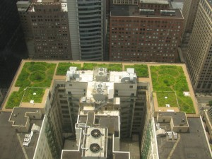 A green roof or living roof is a roof of a building that is partially or completely covered with vegetation and a growing medium, planted over a waterproofing membrane. It may also include additional layers such as a root barrier and drainage and irrigation systems. (Photo: Wikimedia Commons GFDL/CC-by-sa-3.0)