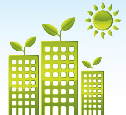green buildings graphic