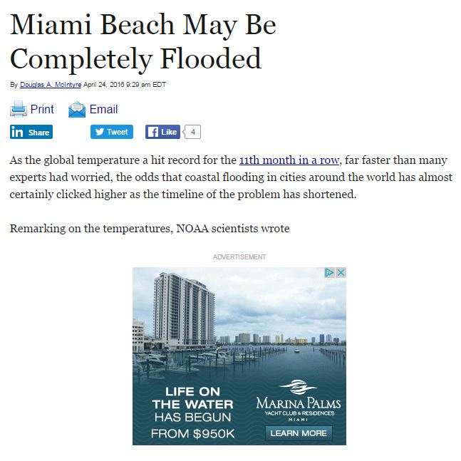Miami Beach May Be Completely Flooded - ironic ad placement