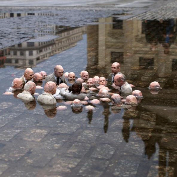 Politicians Discussing Global Warming - Follow the Leader collection - Isaac Cordal - Berlin 2011